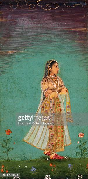 Mughal Miniature Painting Depicting a Lady Walking Through Flowers