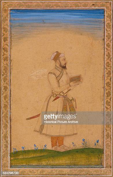 Mughal Miniature Painting Depicting a Nobleman Holding a Casket