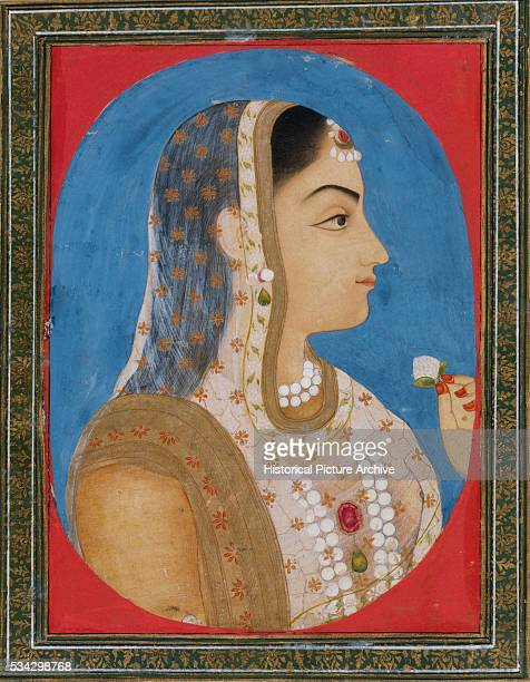 Mughal Miniature Painting Depicting a Noblewoman with Pearls Holding a Flower Petal