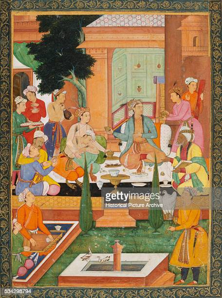 Mughal Miniature Painting Depicting a Prince and Men Drinking Wine in Garden