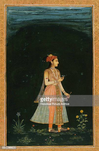 Mughal Miniature Painting Depicting a Woman Holding Flask and Cup at Night