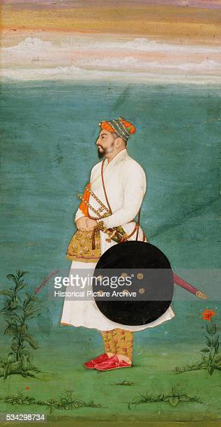Mughal Miniature Painting Depicting an Officer with a Sword and Shield
