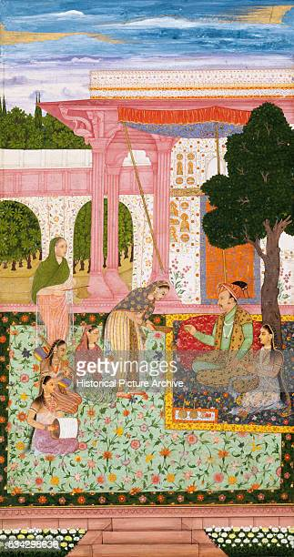 Mughal Miniature Painting Depicting Emperor Jahangir with His Consort and Female Attendants