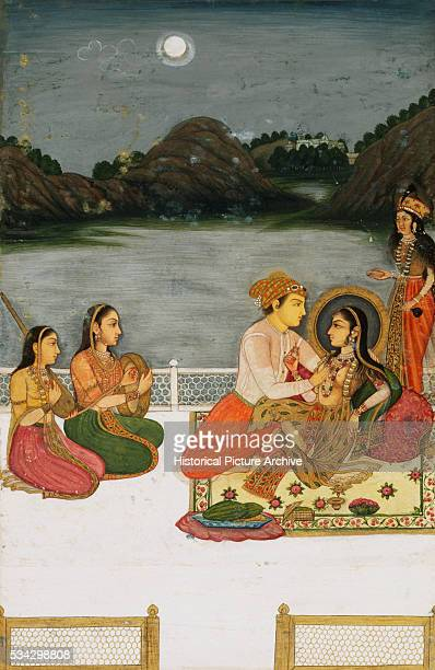 Mughal Miniature Painting Depicting Lovers by a Moonlit Lake