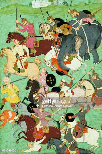 Mughal Miniature Painting of a Battle Scene
