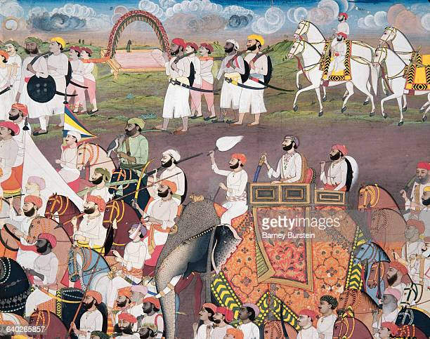 Mughal Painting of a Royal Procession with Elephants