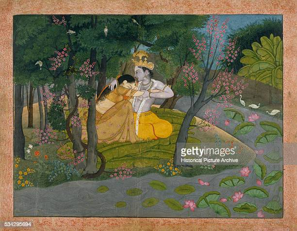 Mughal Painting of Radha and Krishna in the Grove