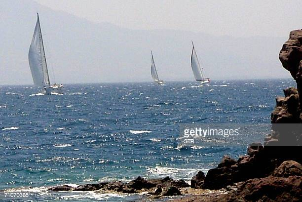Turkish yachts sail on the Aegean sea two miles from the Bodrum province of Mugla 28 May 2006 The area is a busy and popular tourists resort AFP...
