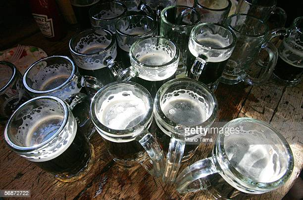 Mugs of beer are seen in McSorley's Old Ale House as it celebrates its 152nd anniversary February 17 2006 in New York City The legendary bar on East...