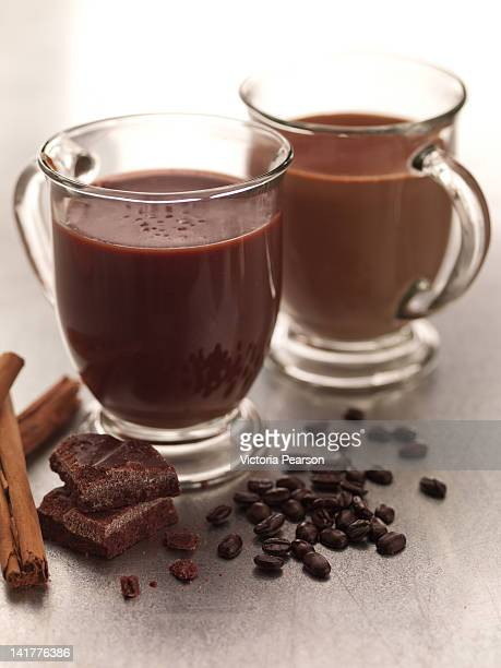 Mugs of Mexican Coffee with chocolate & cinnamon.