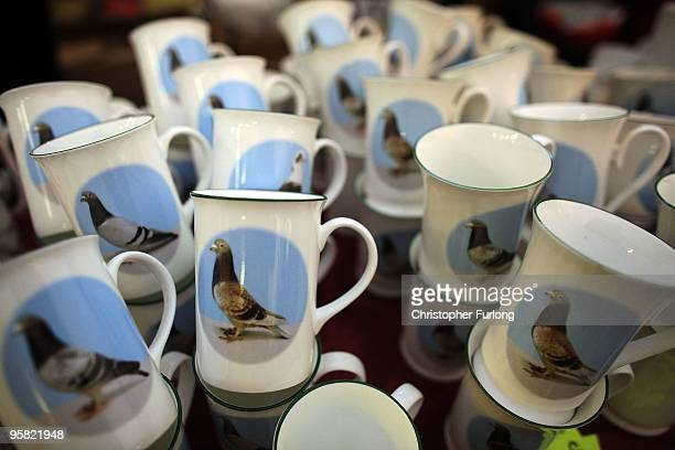 Mugs with pigeons on for sale at The British Homing World Show of the year at The Winter Gardens on January 16 2010 in Blackpool United Kingdom...