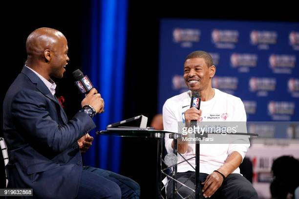 Mugsay Bouges talks to the media during NBA AllStar Media Day as part of 2018 NBA AllStar Weekend at the Los Angeles Convention Center on February 17...
