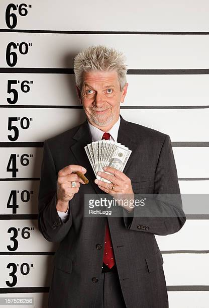 Mugshot of a Crooked Businessman with Copyspace