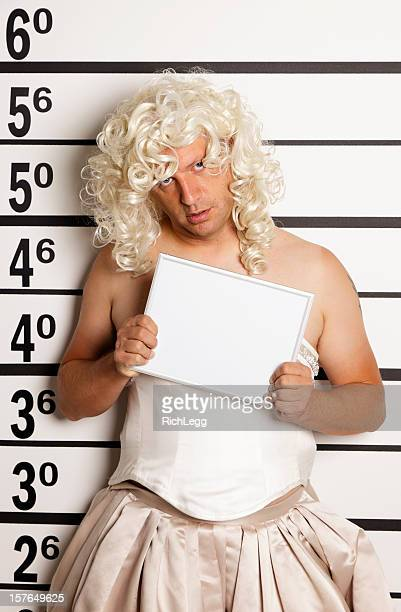 Mugshot of a Man in Drag