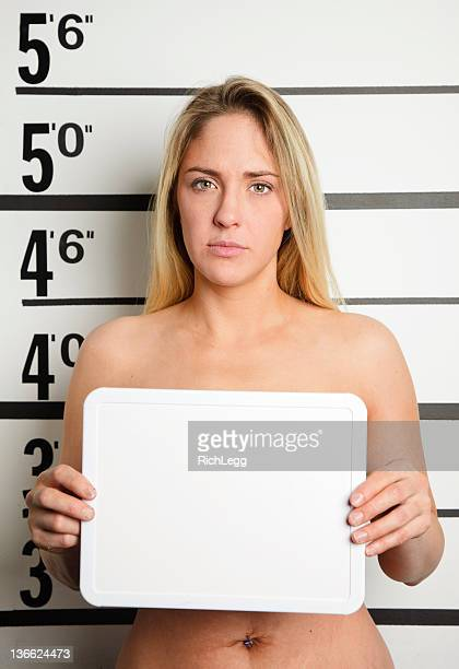 mugshot of a nude woman - naturist stock pictures, royalty-free photos & images