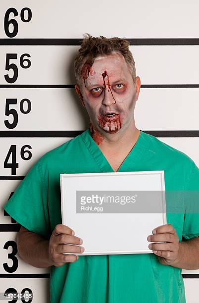 mugshot of a zombie - nursing slogans stock photos and pictures