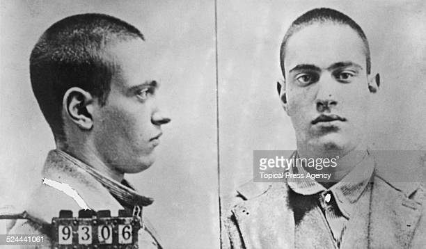 A mugshot of American murderer Nathan Leopold at Joliet Prison Illinois USA 1924 Leopold and his accomplice fellow student Richard Loeb kidnapped and...