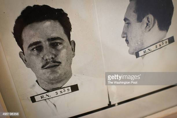 A mugshot of Fidel Castro is displayed in the small museum area of The Presidio Modelo The now abandoned prison outside of Nueva Gerona on the Isla...