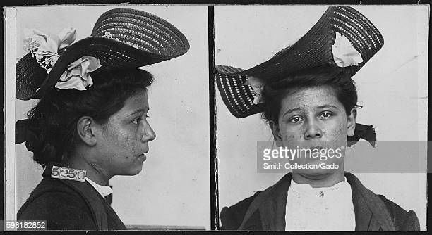 Mugshot of prisoner at Leavenworth Federal Penitentiary Lizzie Cardish who was fifteen years old and convicted of arson 1906 She received a life...
