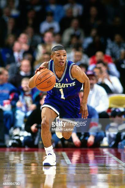1995 Mugsy Bogues of the Charlotte Hornets drives against the Detroit Pistons circa 1995 at the Palace of Auburn Hills in Auburn Hills MI NOTE TO...