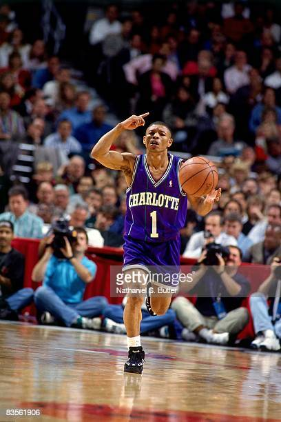 Mugsy Bogues of the Charlotte Hornets moves the ball up court in Game Four of the 1995 NBA Eastern Conference Quarterfinals against the Chicago Bulls...