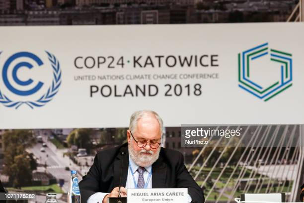 Muguel Arias Canete European Commissioner for Climate Action and Energy present European Unions position during press conference during the UN...