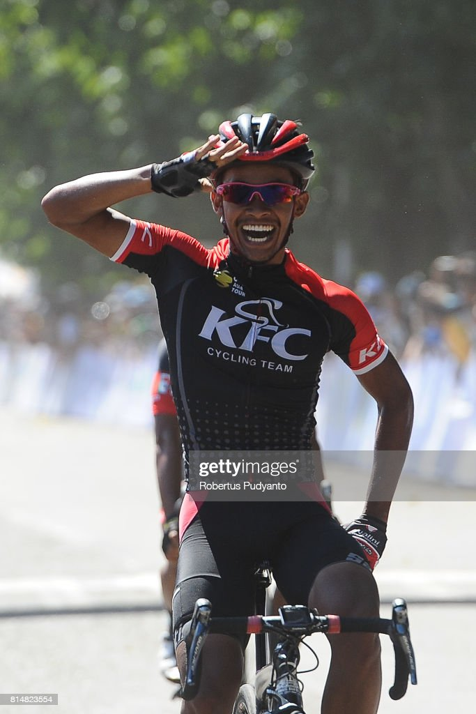 Muh. Imam Arifin of KFC Cycling Team Indonesia celebrates after winning Stage 2 of Tour de Flores 2017, Maumere-Ende 142.8 km on July 15, 2017 in Ende, Flores, Indonesia.