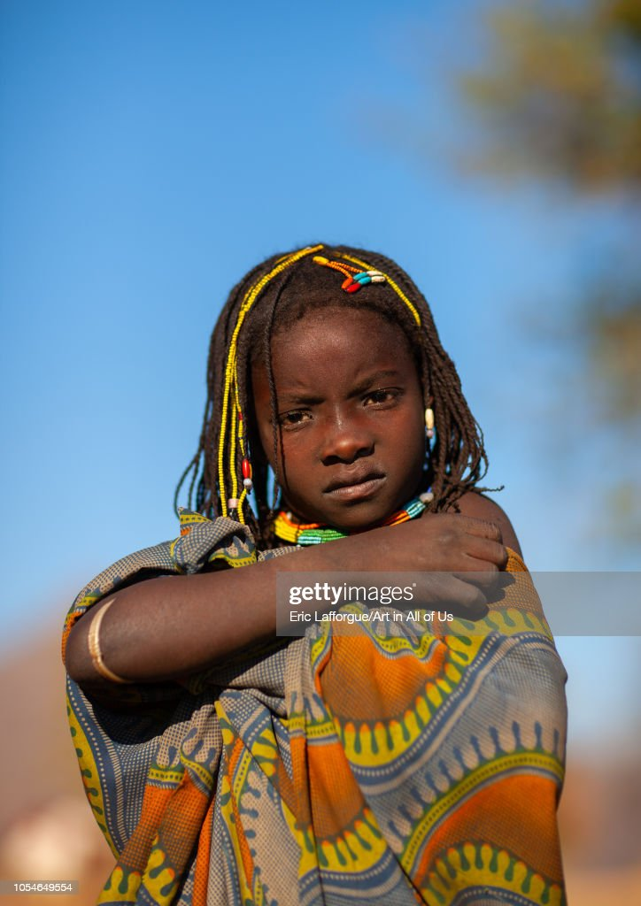 Muhacaona tribe girl, Cunene Province, Oncocua, Angola on August 14