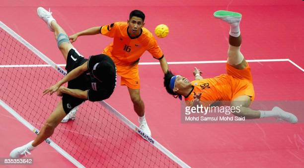 Muhamad Norhaffizi Abd Razak of Malaysia plays a shot during the Sepak Takraw Men's team competition against Thailand on 2017 SEA Games on August 19...