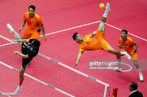 Muhamad Norhaffizi Abd Razak of Thailand plays a shoot during the Sepak Takraw Men's competition against Thailand at the 2017 SEA Games on August 19...