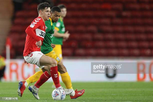 Muhamed Beic of Middlesbrough and Lukas Nmecha of Preston North End during the Sky Bet Championship match between Middlesbrough and Preston North End...