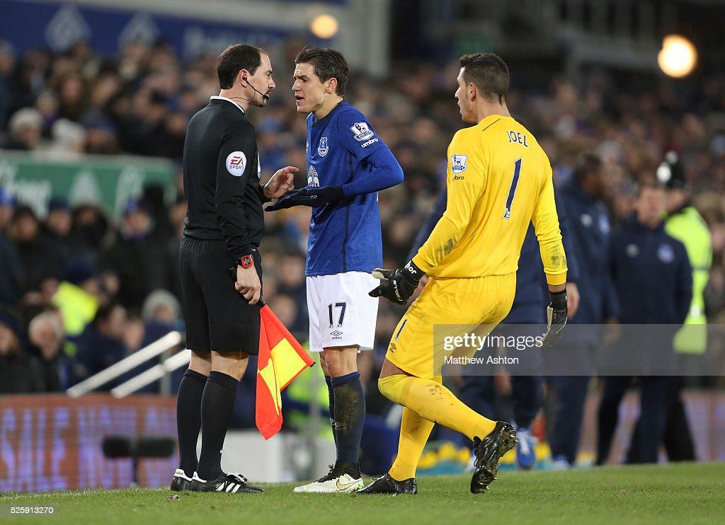 Muhamed Besic And Joel Robles Of Everton Protest To The