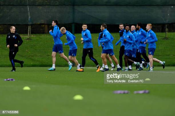 Muhamed Besic and team mates during the Everton training session ahead of the UEFA Europa League match against Atalanta at USM Finch Farm on November...