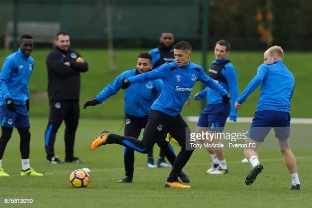 Muhamed Besic during the Everton Training session at USM Finch Farm on November 17 2017 in Halewood England
