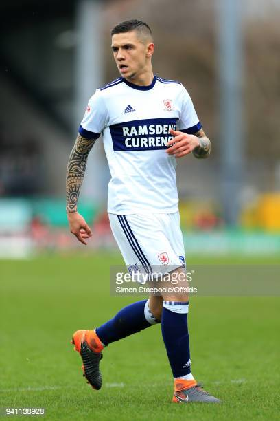 Muhamed Besic of Boro in action during the Sky Bet Championship match between Burton Albion and Middlesbrough at the Pirelli Stadium on April 2 2018...