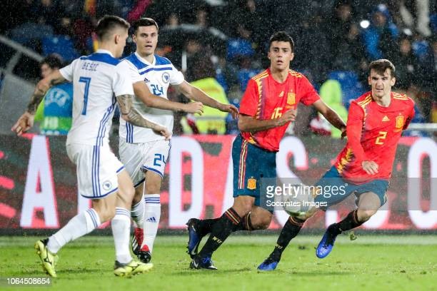 Muhamed Besic of Bosnia and Herzegovina Amer Gojak of Bosnia and Herzegovina Rodri of Spain Diego Llorente of Spain during the UEFA Nations league...