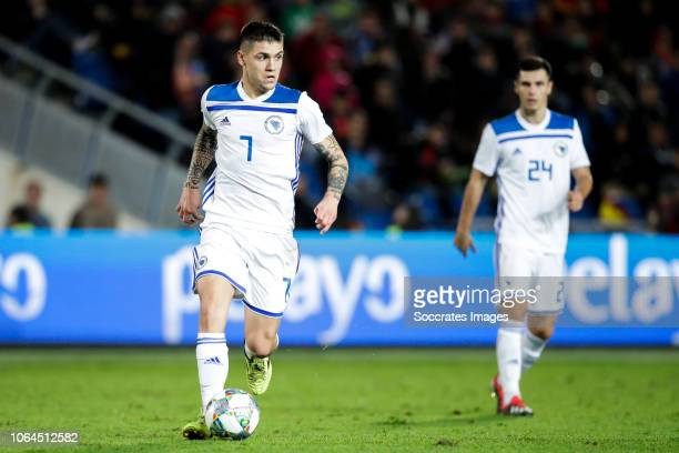 Muhamed Besic of Bosnia and Herzegovina Amer Gojak of Bosnia and Herzegovina during the UEFA Nations league match between Spain v Bosnia and...