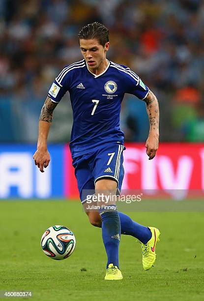 Muhamed Besic of Bosnia and Herzegovina controls the ball during the 2014 FIFA World Cup Brazil Group F match between Argentina and BosniaHerzegovina...