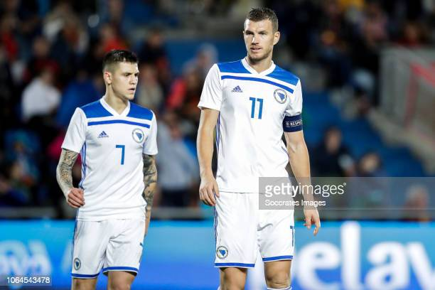 Muhamed Besic of Bosnia and Herzegovina Edin Dzeko of Bosnia and Herzegovina during the UEFA Nations league match between Spain v Bosnia and...