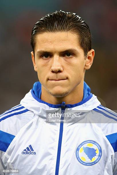 Muhamed Besic of Bosnia and Herzegovina looks on during the 2014 FIFA World Cup Brazil Group F match between Argentina and BosniaHerzegovina at...