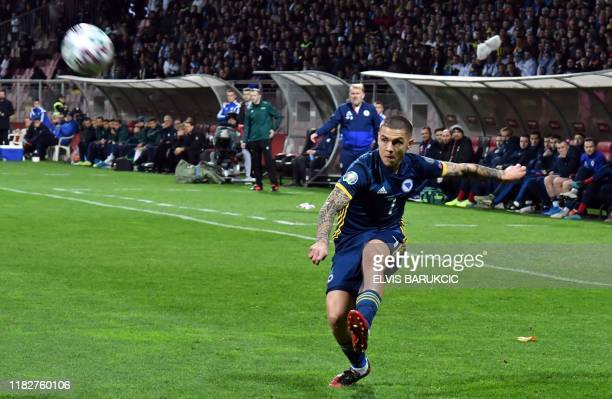 Muhamed Besic of Bosnia and Herzegovina passes the ball during EURO2020 qualifier football match in Zenica on November 15 2019