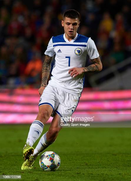 Muhamed Besic of Bosnia in action during the international friendly match between Spain and Bosnia Herzegovina at Estadio de Gran Canaria on November...