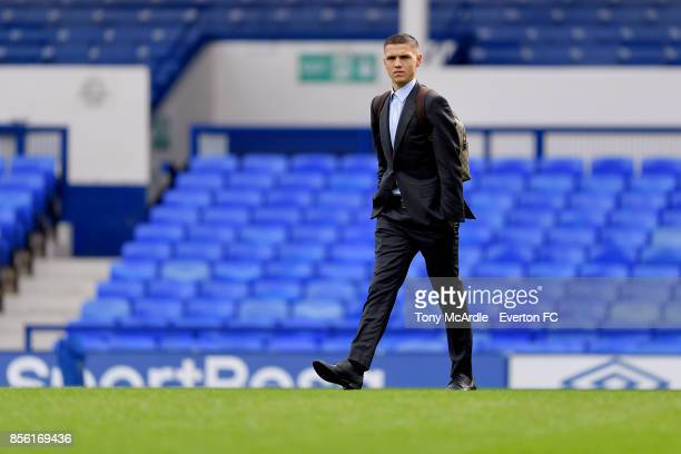 Muhamed Besic of Everton arrives before the Premier League match between Everton and Burnley at Goodison Park on October 1 2017 in Liverpool England