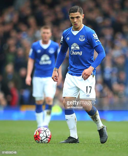 Muhamed Besic of Everton controls the ball during the Barclays Premier League match between Everton and Arsenal at Goodison Park on March 19 2016 in...