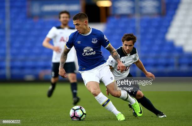 Muhamed Besic of Everton controls the ball from Will Miller of Tottenham Hotspur during the Premier League 2 match between Everton and Tottenham...