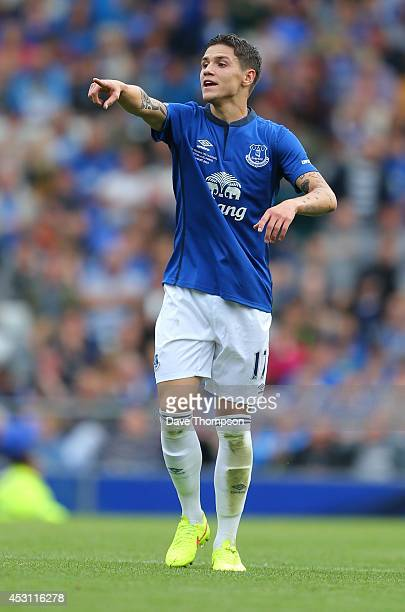 Muhamed Besic of Everton during the PreSeason Friendly between Everton and Porto at Goodison Park on August 3 2014 in Liverpool England