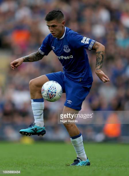 Muhamed Besic of Everton during the PreSeason Friendly match between Blackburn Rovers and Everton at Ewood Park on July 26 2018 in Blackburn England