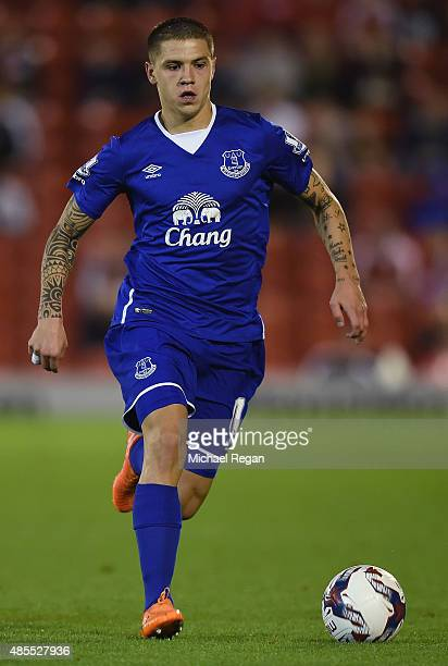Muhamed Besic of Everton in action during the Capital One Cup Second Round match between Barnsley and Everton at Oakwell Stadium on August 26 2015 in...