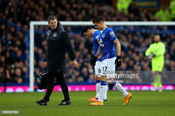 Muhamed Besic of Everton leaves the pitch after picking up an injury early in the Barclays Premier League match between Everton and Swansea City at...