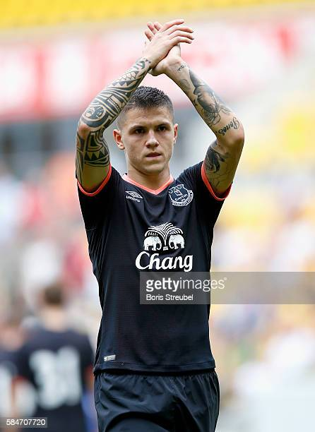 Muhamed Besic of FC Everton waves to his fans after the Bundeswehr Karriere Cup Dresden 2016 match between FC Everton and Real Betis at DDVStadion on...